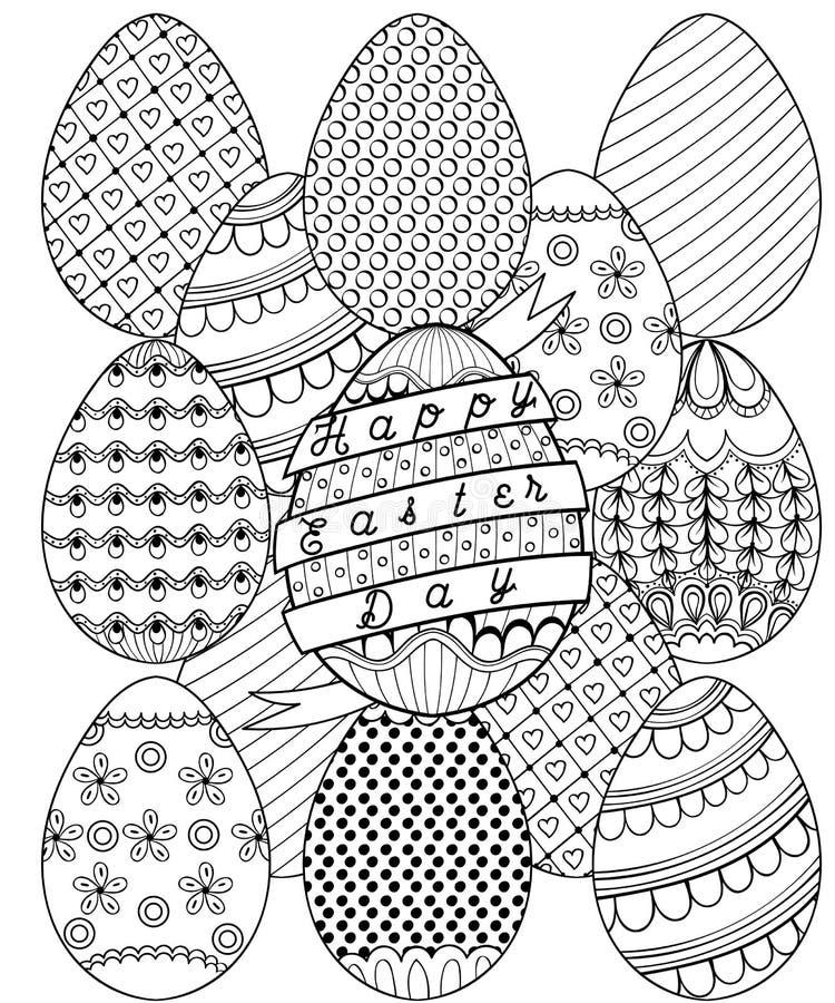 Entregue o teste padrão artístico tirado dos ovos da páscoa para a página adulta da coloração ilustração do vetor