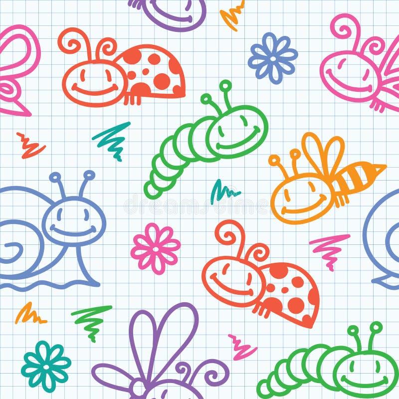 Entregue o teste padrão desenhado com insetos ilustração stock