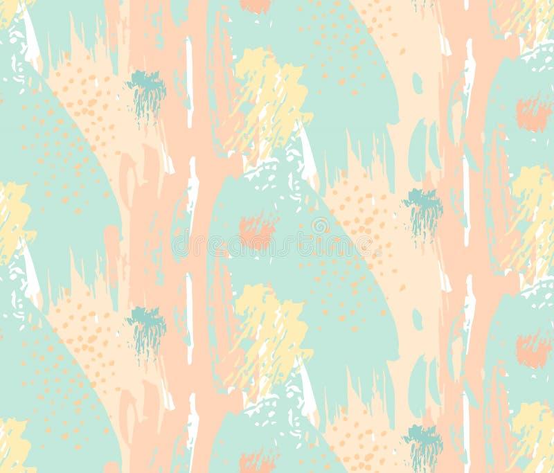Entregue o teste padrão sem emenda artístico textured sumário tirado do vetor na cor pastel, no azul, no amarelo e nas cores do o ilustração royalty free