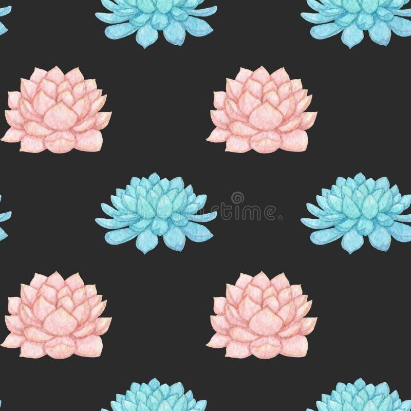 Entregue o teste padrão sem emenda suculento cor-de-rosa e azul tirado o da aquarela ilustração royalty free