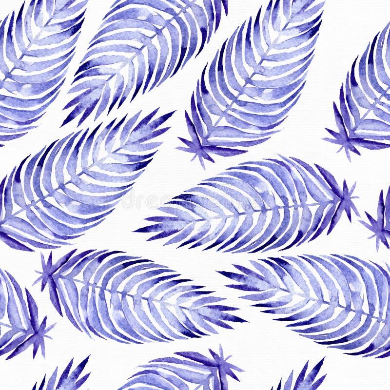 Entregue o teste padrão sem emenda tirado com as folhas de palmeira azuis, tiradas com a aquarela e a escova roxas e azuis Folhas ilustração royalty free