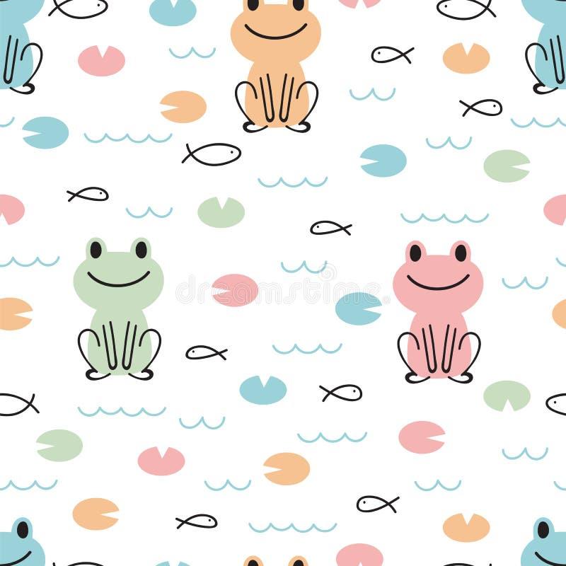 Entregue o teste padrão sem emenda tirado com as rãs bonitos e os peixes dos desenhos animados Caçoa o fundo Textura criançola pa ilustração stock
