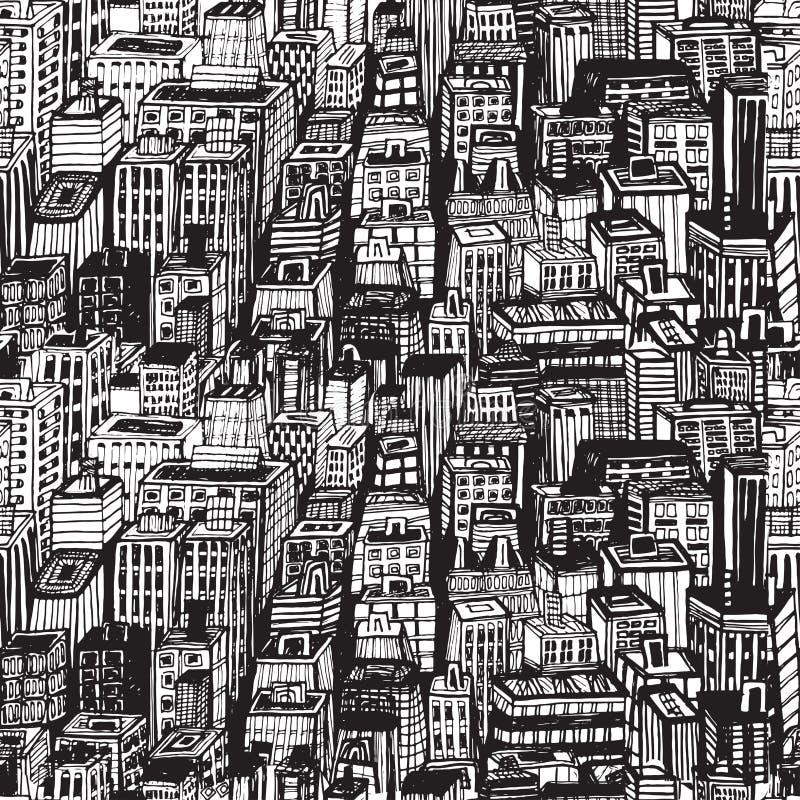 Entregue o teste padrão sem emenda tirado com cidade grande New York ilustração stock