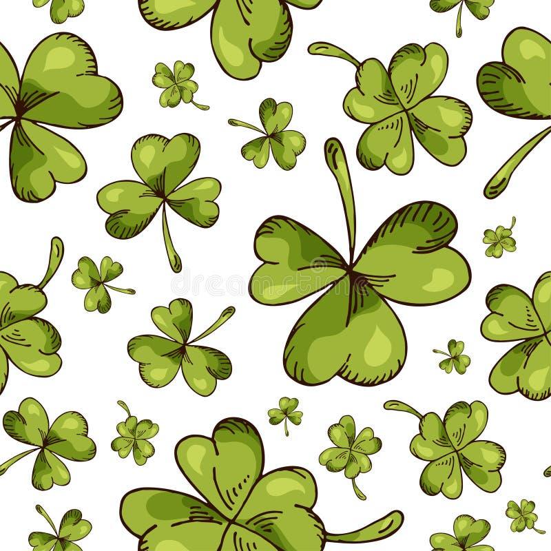 Entregue o teste padrão sem emenda tirado com elementos do dia de St Patrick Ilustração do esboço do vetor ilustração do vetor