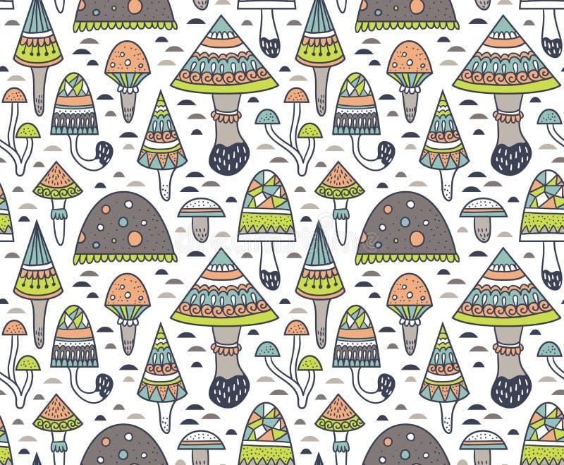 Entregue o teste padrão sem emenda tirado com o cogumelo e cogumelos venenosos decorativos geométricos Ilustração do vetor ilustração stock