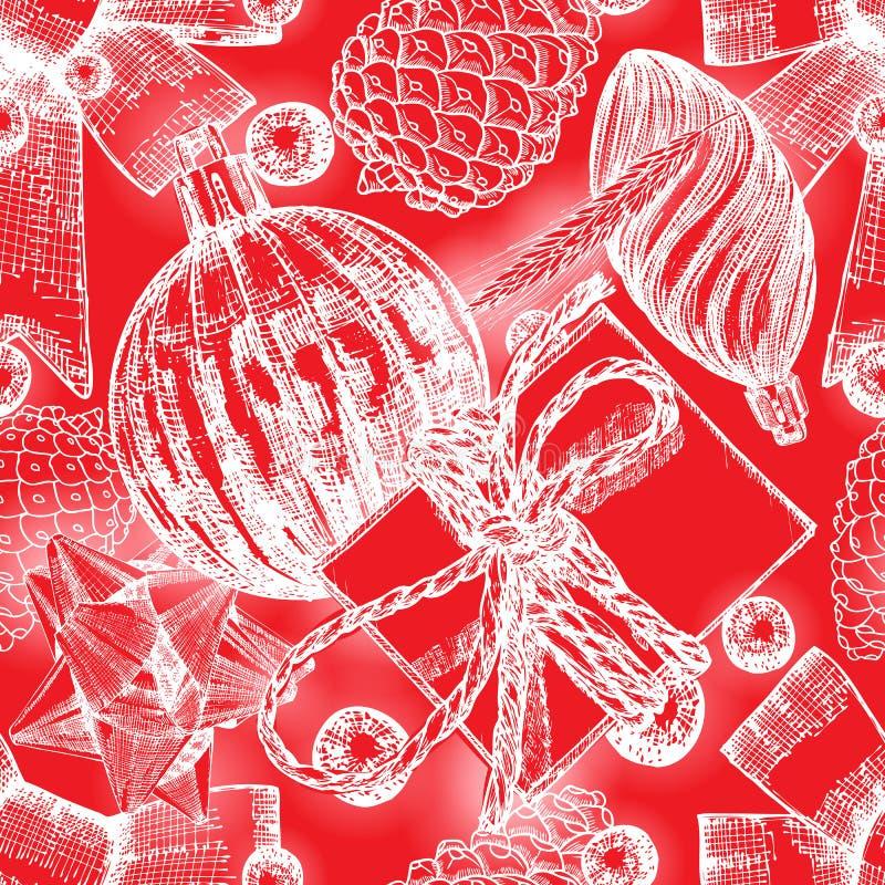Entregue o teste padrão sem emenda vermelho tirado com elementos do Natal Xmas ilustração royalty free