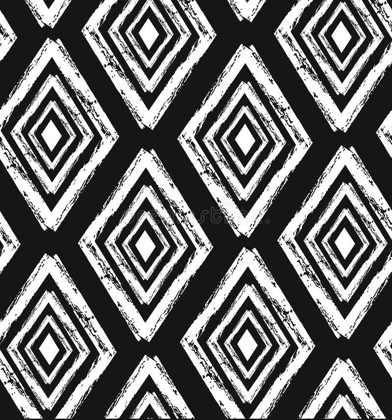 Entregue o teste padrão tribal sem emenda tirado no preto e no creme Matéria têxtil moderna, arte da parede, papel de envolviment ilustração stock