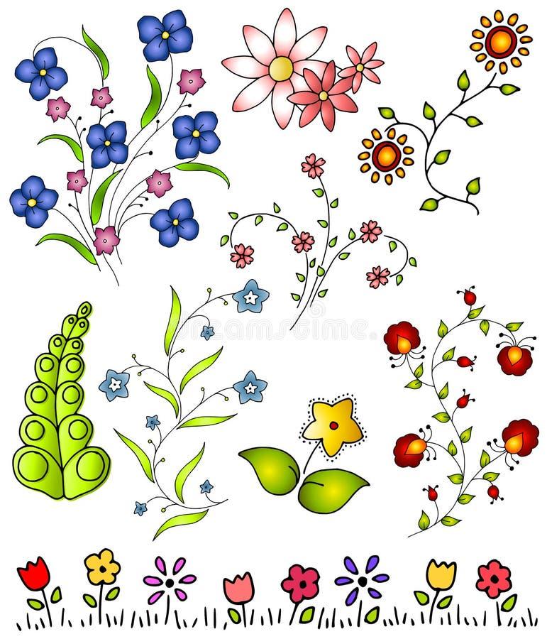 Entregue o vetor desenhado 2 das flores da mola ilustração do vetor