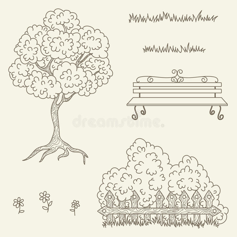 Entregue objetos tirados da rua/jardim do vetor do esboço ilustração royalty free