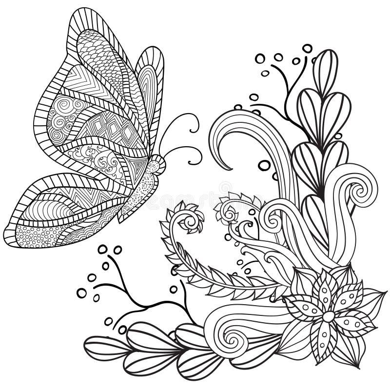 Entregue ornamental étnico artístico o quadro floral modelado tirado com uma borboleta ilustração royalty free