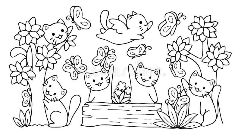 Entregue os gatos bonitos tirados que jogam com a borboleta na floresta, para o elemento do projeto e a página do livro para colo ilustração do vetor
