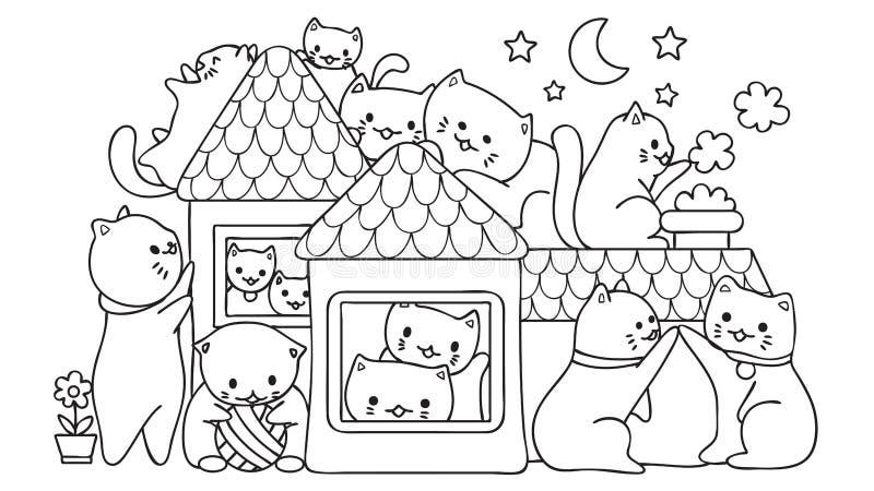 Entregue os gatos bonitos tirados que jogam na casa na noite, para o elemento do projeto e a página do livro para colorir Ilustra ilustração royalty free