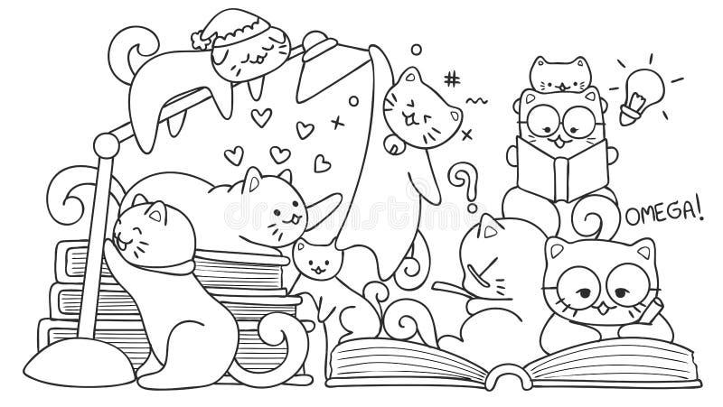 Entregue os gatos bonitos tirados que leem para o elemento do projeto e a página do livro para colorir para crianças Ilustração d ilustração do vetor