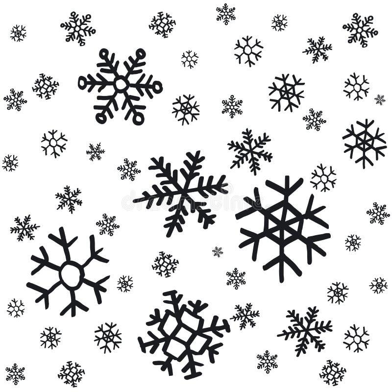 Entregue os ornamento tirados do Natal dos flocos de neve feitos do fundo decorativo do Natal da ilustração do esboço do vetor do ilustração do vetor