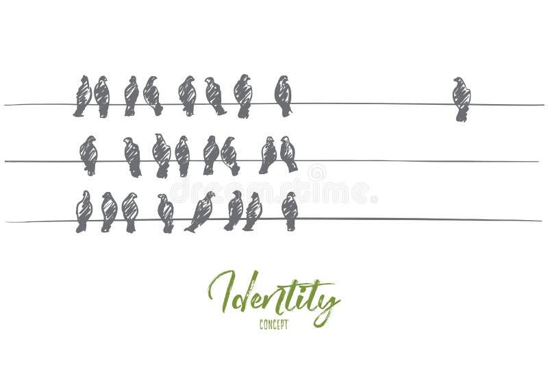 Entregue os pombos tirados que sentam-se em fios em três linhas ilustração stock