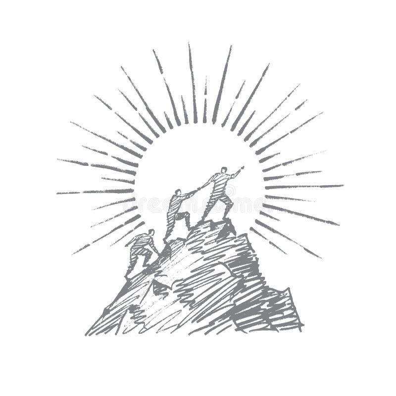 Entregue os povos tirados que tentam escalar acima a montanha ilustração royalty free