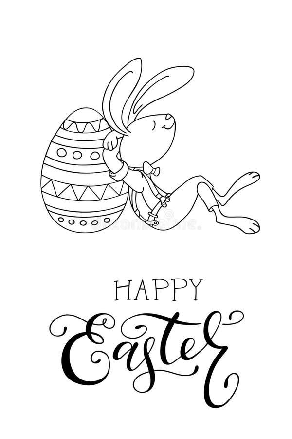 Entregue ovos da páscoa tirados, coelho do divertimento, e texto escrito à mão Cartão feliz da Páscoa ilustração royalty free
