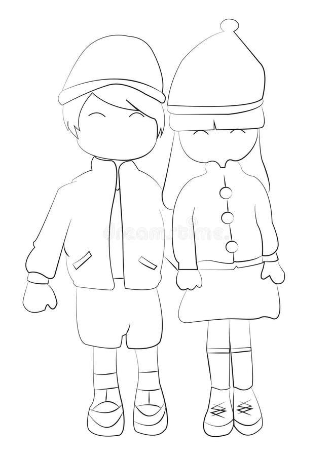 Entregue a página colorindo tirada de um menino e de uma menina que guardam as mãos ilustração do vetor