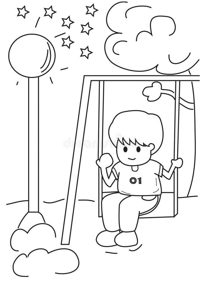 Entregue a página colorindo tirada de um menino em um balanço ilustração stock