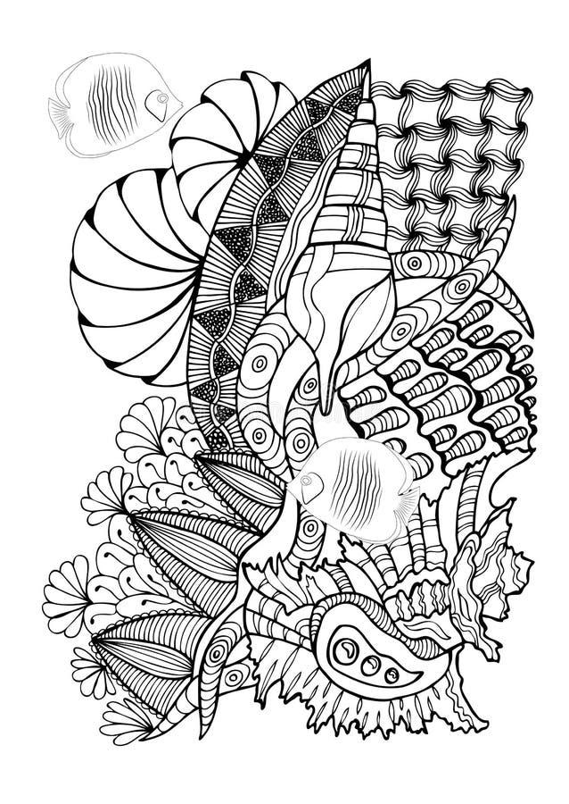 Entregue a página tirada no estilo do zendoodle para o livro para colorir adulto Abst ilustração do vetor