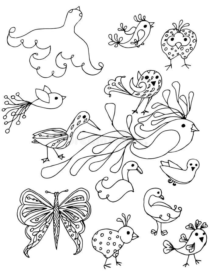 Entregue pássaros e a borboleta tirados a ilustração conservada em estoque do vetor para a Web, para a cópia, elemento do projeto ilustração do vetor