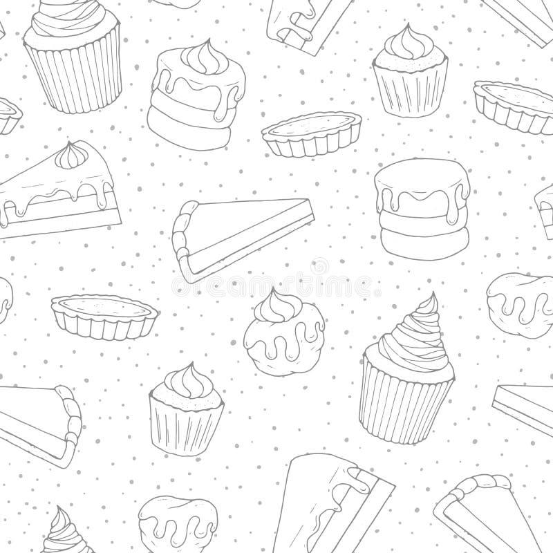 Entregue a pastelaria tirada do vetor o teste padrão sem emenda com bolos, tortas ilustração royalty free