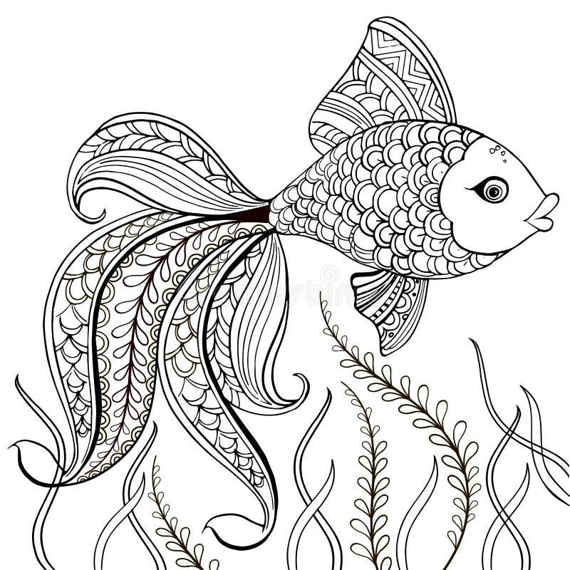 Entregue peixes decorativos tirados para para a anti página da coloração do esforço Entregue os peixes decorativos pretos tirados ilustração royalty free