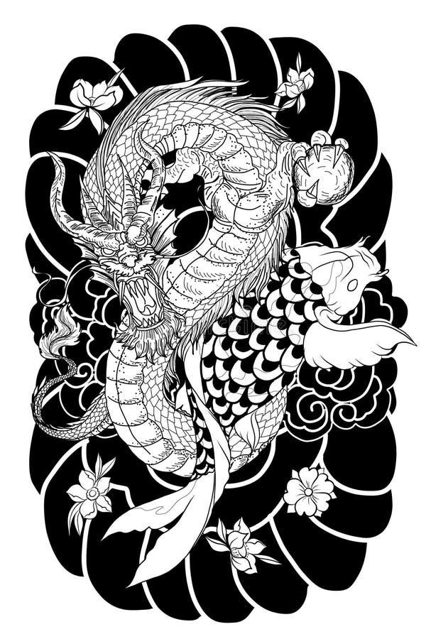 Entregue peixes tirados do dragão e do koi com tatuagem da flor para o braço, a lápis japonês imagem da carpa do vetor do livro p ilustração royalty free