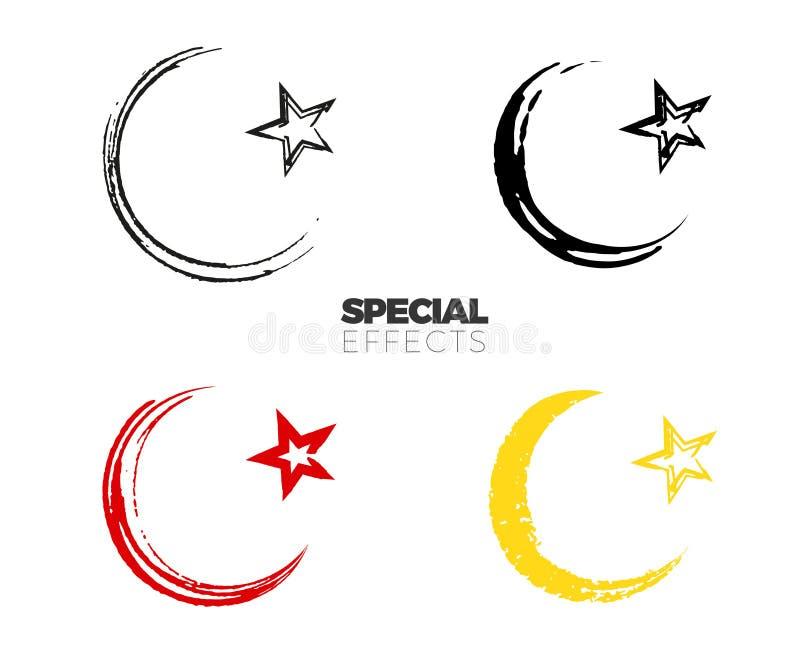 Entregue a pintura tirada o símbolo islâmico, esboço muçulmano simples do sinal ilustração stock
