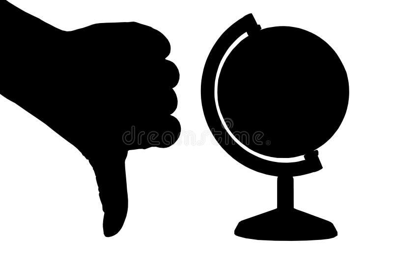 Entregue (polegar Para Baixo) E Um Globo Imagens de Stock