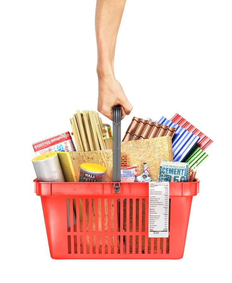 Entregue a posse um cesto de compras completamente de materiais de construção em um fundo branco ilustração 3D ilustração do vetor