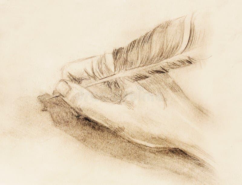 Entregue a posse uma pena da pena na letra e no envelope, esboço no papel, efeito do lápis do vintage ilustração do vetor