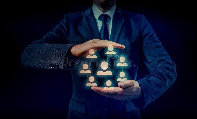 Entregue a rede levando do ícone do homem de negócios - conceito da hora, do HRM, do MLM, dos trabalhos de equipa e da liderança fotografia de stock