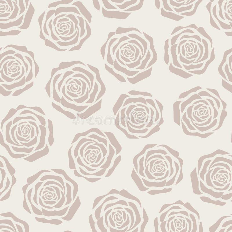 Entregue a rosas tiradas do marrom do vetor silhuetas teste padrão sem emenda no fundo bege ilustração do vetor
