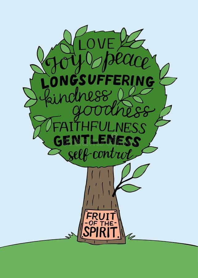 Entregue a rotulação com verso da Bíblia o fruto do espírito com árvore ilustração stock