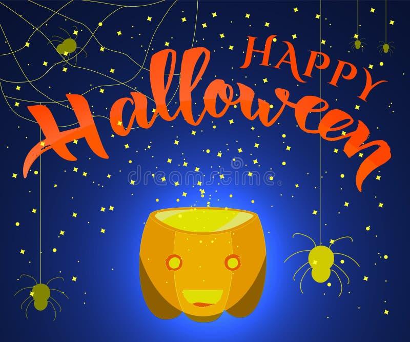 Entregue a rotulação da caligrafia moderna Dia das Bruxas feliz com aranha, abóbora e Web ilustração do vetor