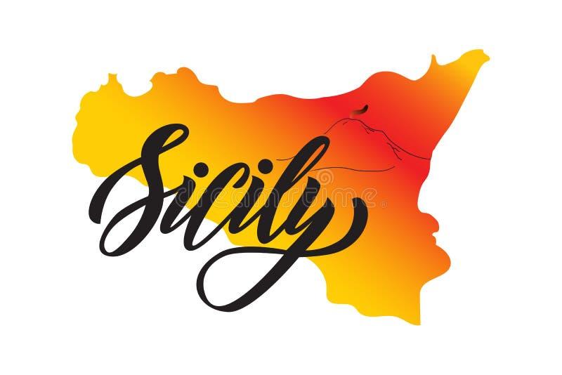 Entregue a rotulação da palavra Sicília no fundo da forma da ilha Sicília com vulcano Etna ilustração stock