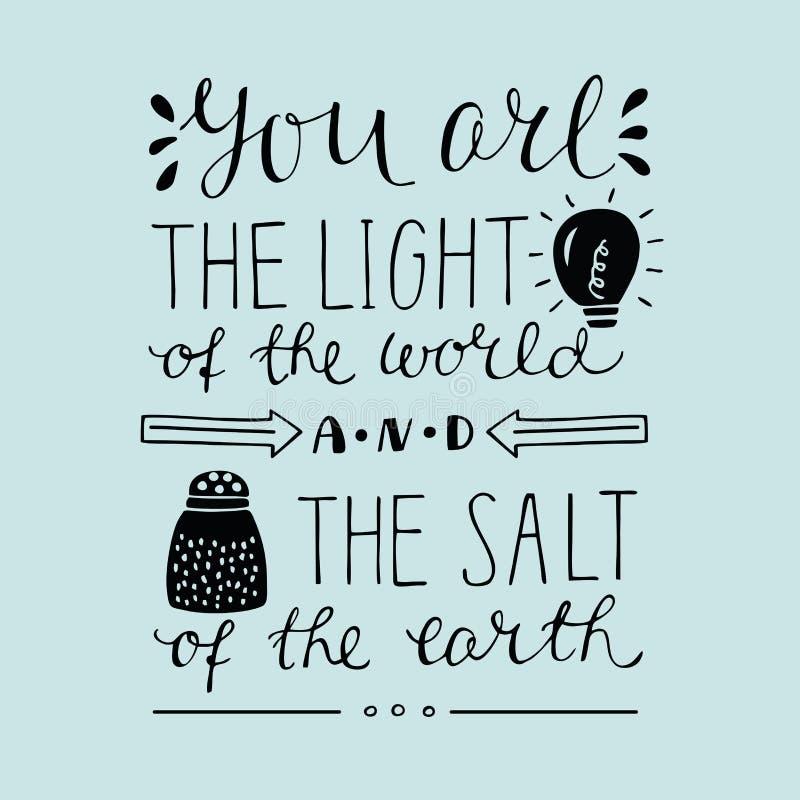 Entregue a rotulação de você a luz do mundo e do sal da terra ilustração royalty free
