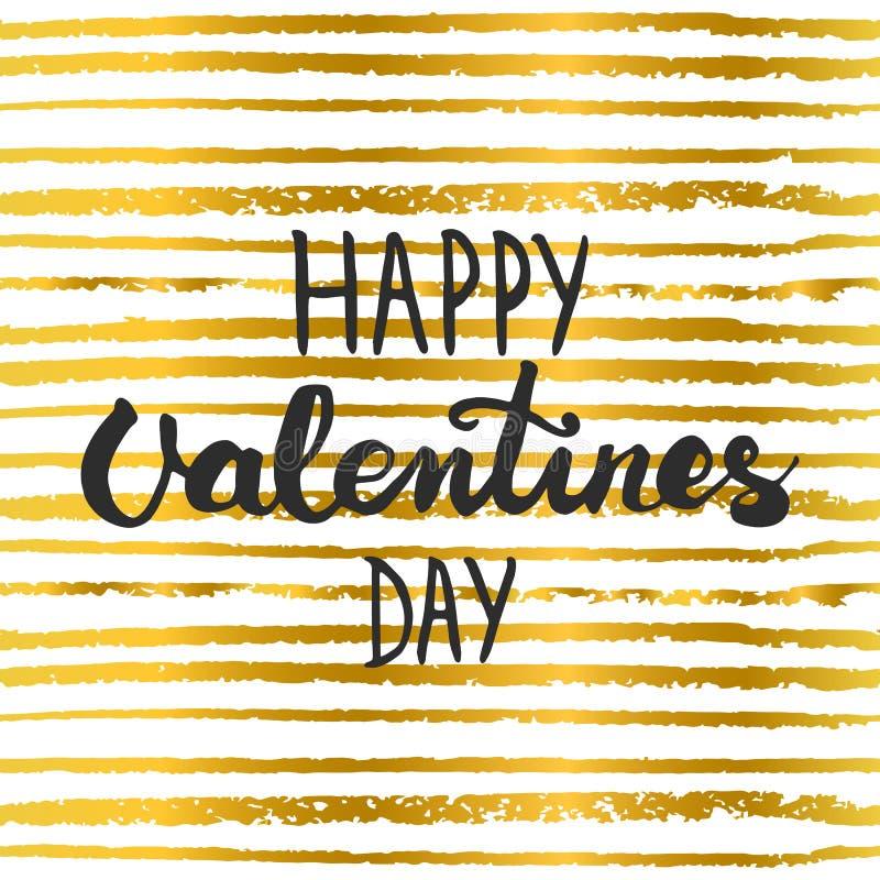 Entregue a rotulação do cartaz caligráfico da tipografia do partido dia de Valentim feliz no fundo das listras do ouro ilustração stock