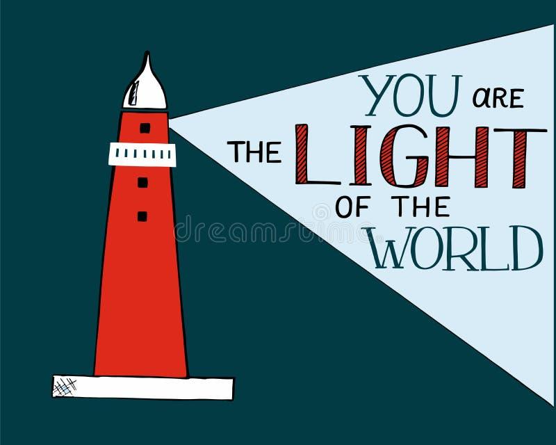 Entregue a rotulação e o verso da Bíblia você a luz do mundo, feita com baliza ilustração do vetor