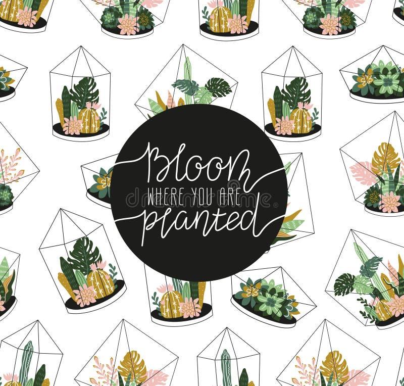 Entregue a rotulação escrita - floresça onde você é plantado Ilustração à moda do vetor ilustração royalty free