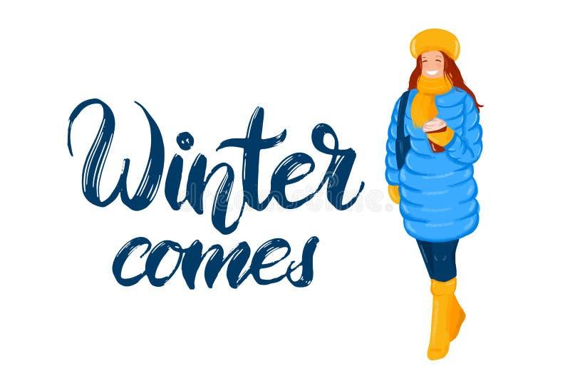 Entregue a rotulação tirada com ícone liso do estilo da mulher na roupa morna do inverno, em para baixo revestem, os calçados, le ilustração do vetor