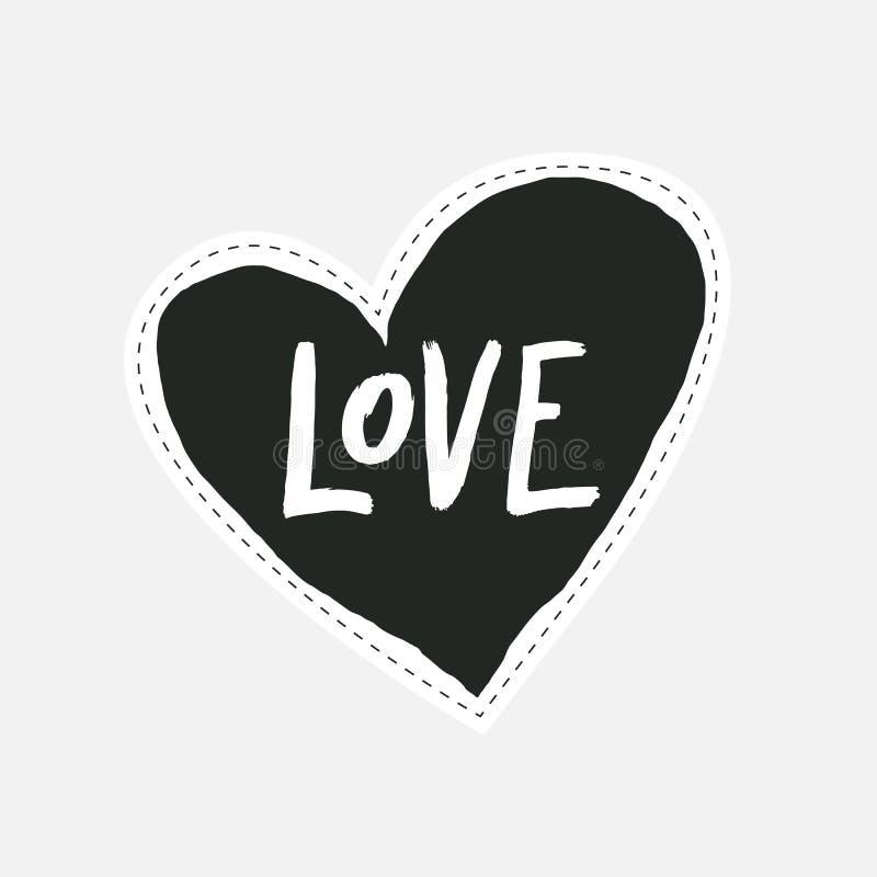 Entregue a rotulação tirada do amor no coração tirado da mão preta Etiqueta ou etiqueta ao estilo 80 do ` s e 90 ` s ilustração do vetor