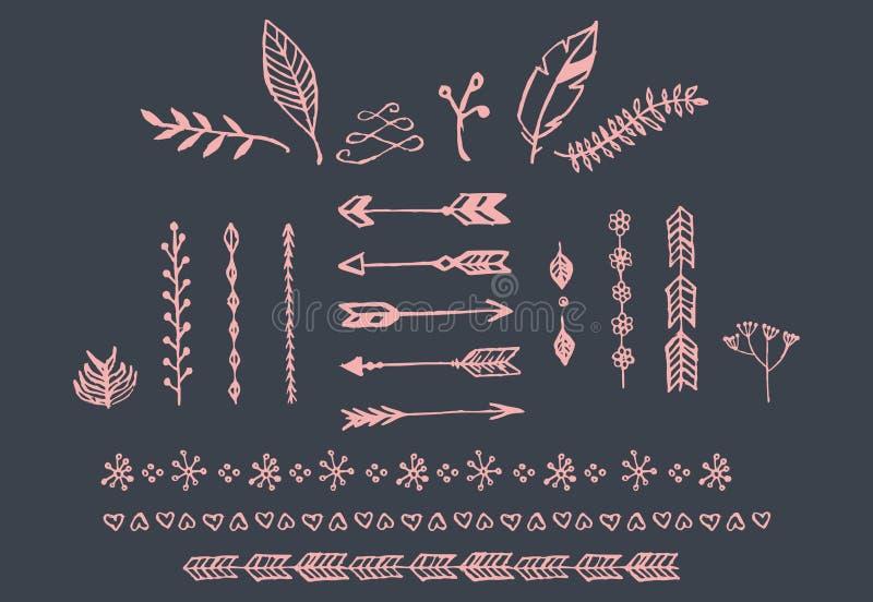 Entregue setas tiradas do vintage, penas, divisores e elementos florais ilustração do vetor