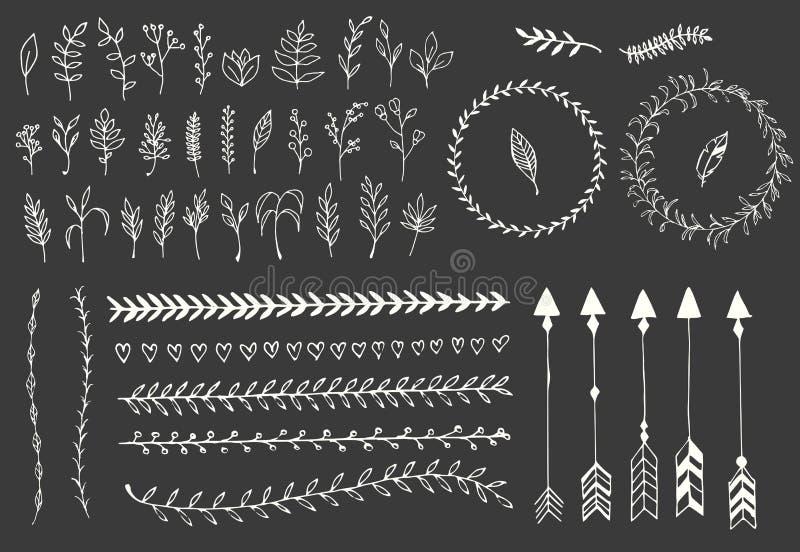 Entregue setas tiradas do vintage, penas, divisores e elementos florais ilustração royalty free