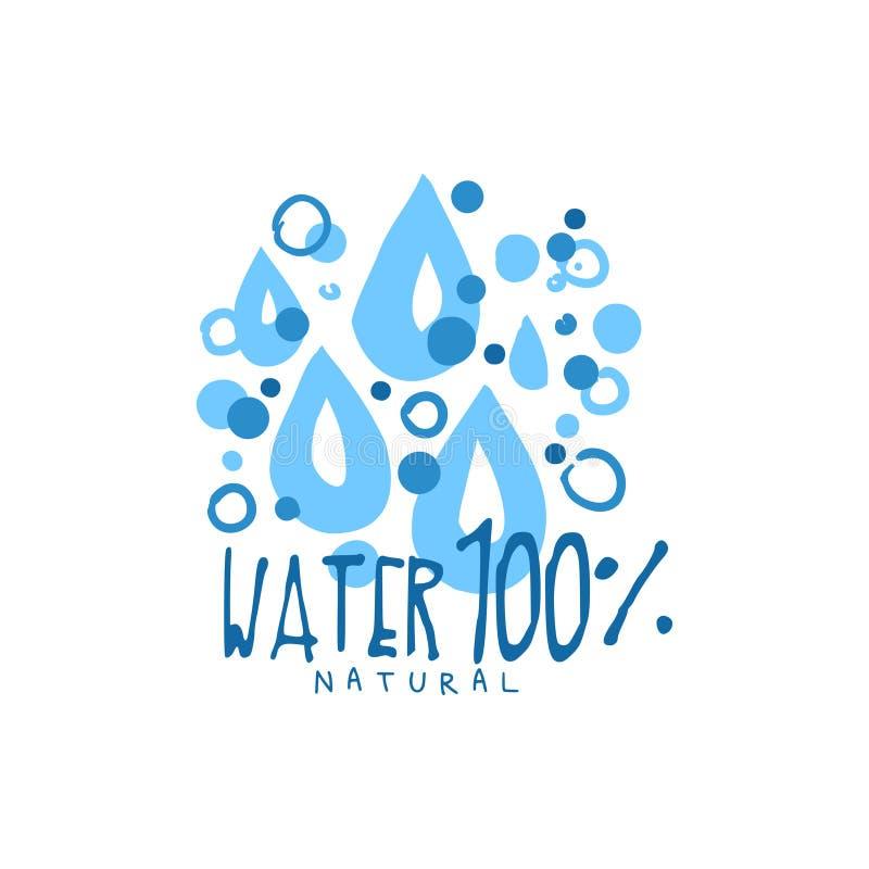 Entregue sinais tirados de gotas puras da água para o logotipo ilustração royalty free