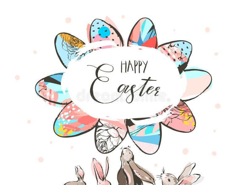 Entregue a sumário tirado do vetor a colagem escandinava gráfica Páscoa feliz coelho simples bonito, cartão das ilustrações dos o ilustração do vetor