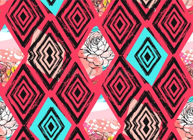 Entregue a sumário tirado do vetor a colagem textured a mão livre teste padrão sem emenda com mottif das flores da mola na cor pa ilustração do vetor