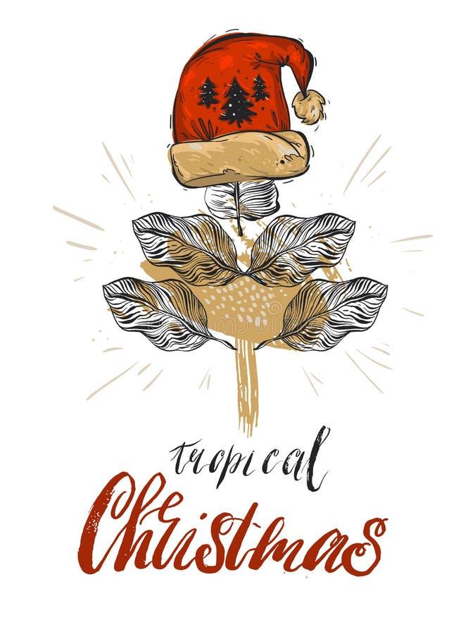 Entregue a sumário tirado do vetor a decoração gráfica do cartão do Natal com o conceito em folha de palmeira tropical da árvore  ilustração do vetor