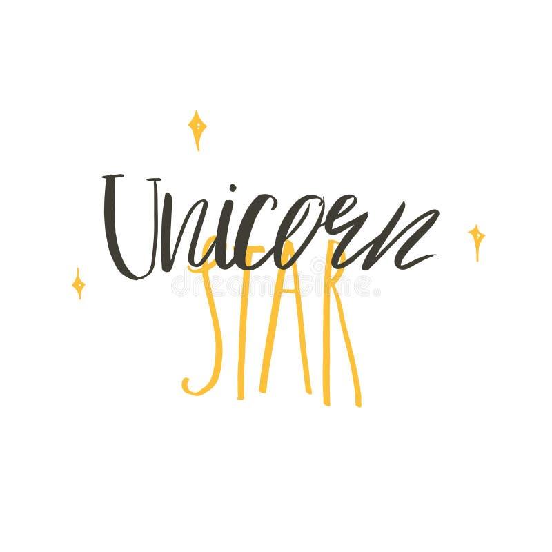 Entregue a sumário tirado do vetor a fase escrita à mão moderna criativa gráfica Unicorn Star da rotulação da caligrafia isolado  ilustração stock